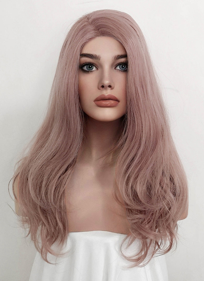 Pale Plum Wavy Lace Front Synthetic Wig LF1654