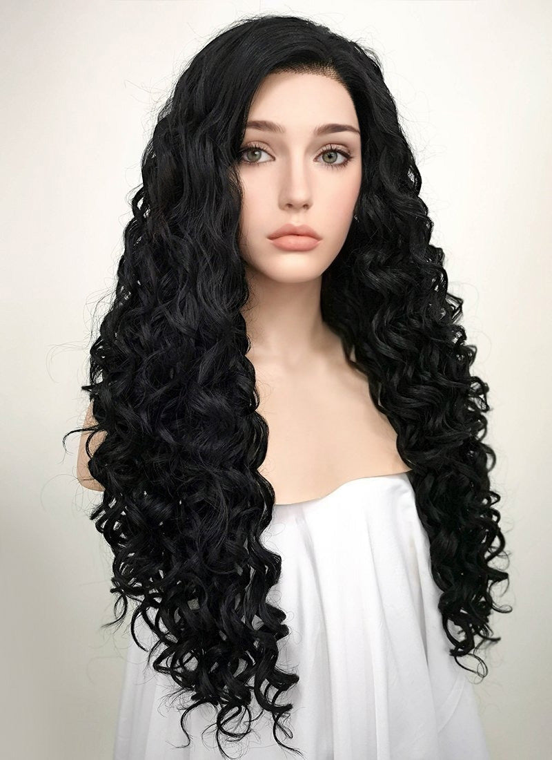 Spiral Curly Black Lace Front Synthetic Wig LF166