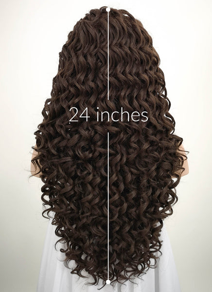 "26"" Spiral Curly Mixed Dark Brown Lace Front Synthetic Wig LF169"