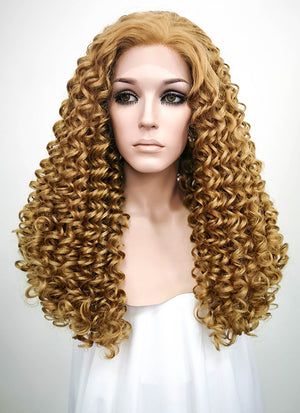 Golden Blonde Curly Lace Front Synthetic Wig LF1701