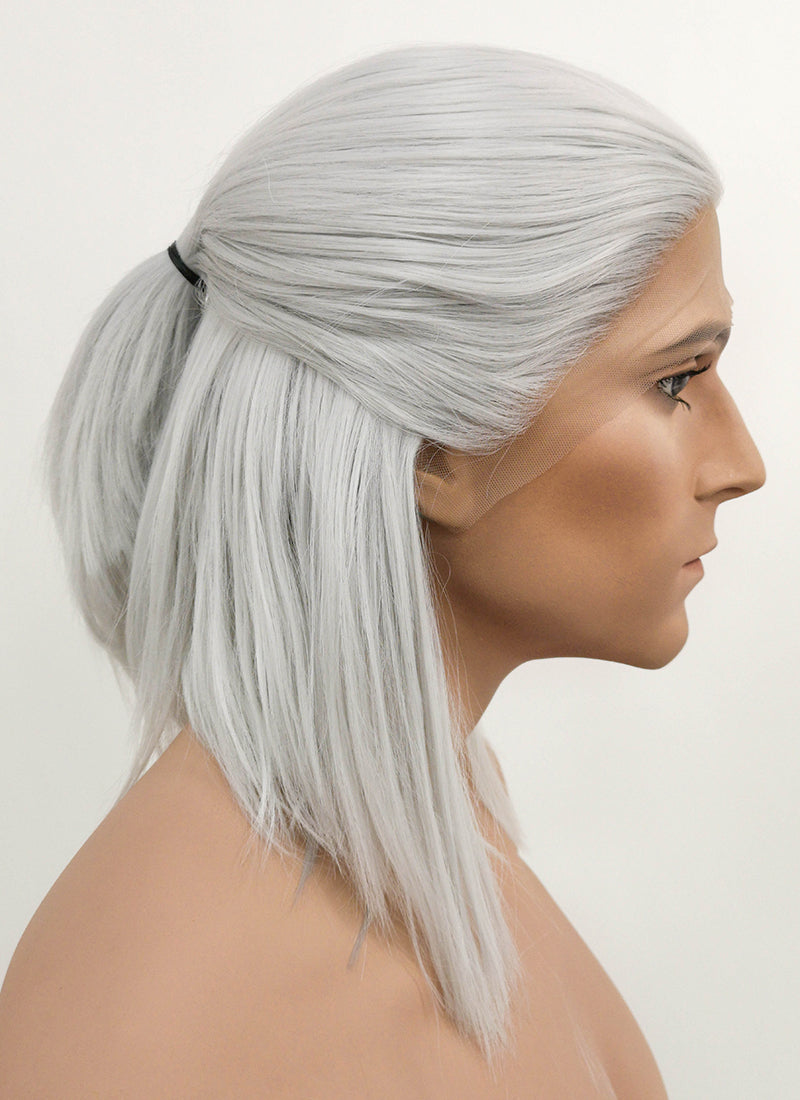 The Witcher 3 Geralt of Rivia Silver Grey Straight Bob Lace Front Synthetic Wig LF1702