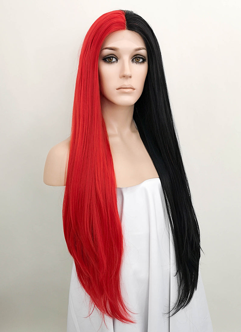 Red Black Split Color Straight Lace Front Synthetic Wig LF1713