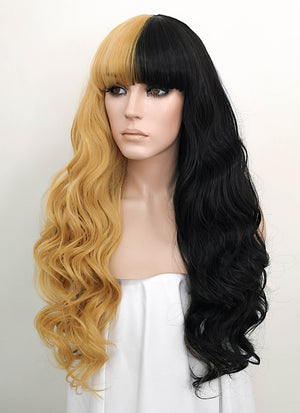 Blonde Black Split Color Wavy Lace Front Synthetic Wig LF1720