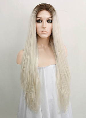 Light Blonde With Brown Roots Straight Lace Front Synthetic Wig LF1727