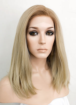 Ash Blonde With Brown Roots Wavy Lace Front Synthetic Wig LF1728A