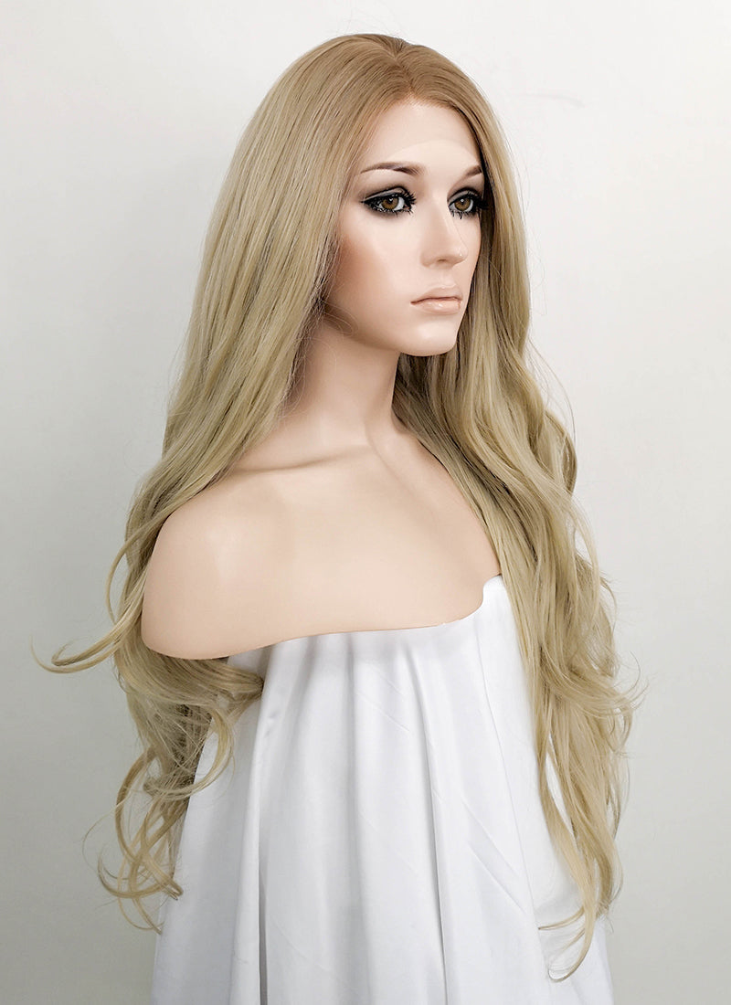 Ash Blonde With Brown Roots Wavy Lace Front Synthetic Wig LF1728