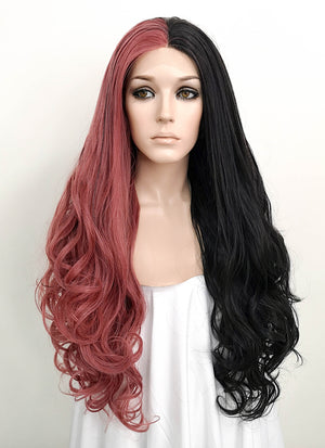 Rose Pink Black Split Color Wavy Lace Front Synthetic Wig LF1729