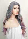 Grey Pink Purple Mixed Wavy Lace Front Synthetic Wig LF1732