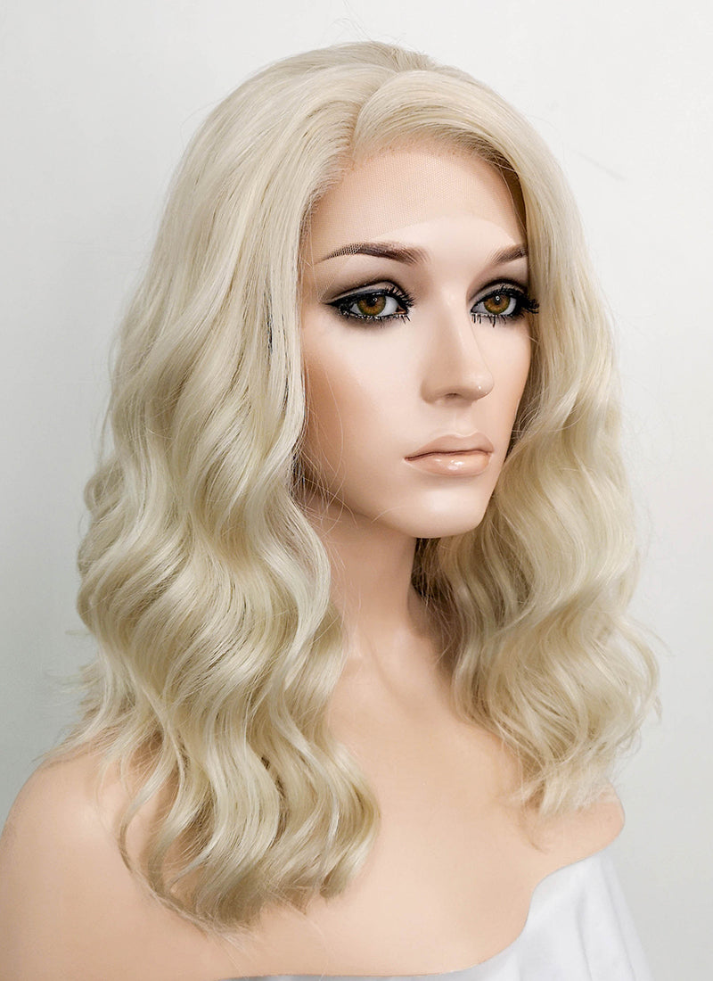 Light Ash Blonde Wavy Lace Front Synthetic Wig LF1737
