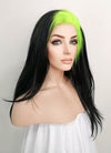 Billie Eilish Black With Neon Green Roots Wavy Lace Front Synthetic Wig LF1743