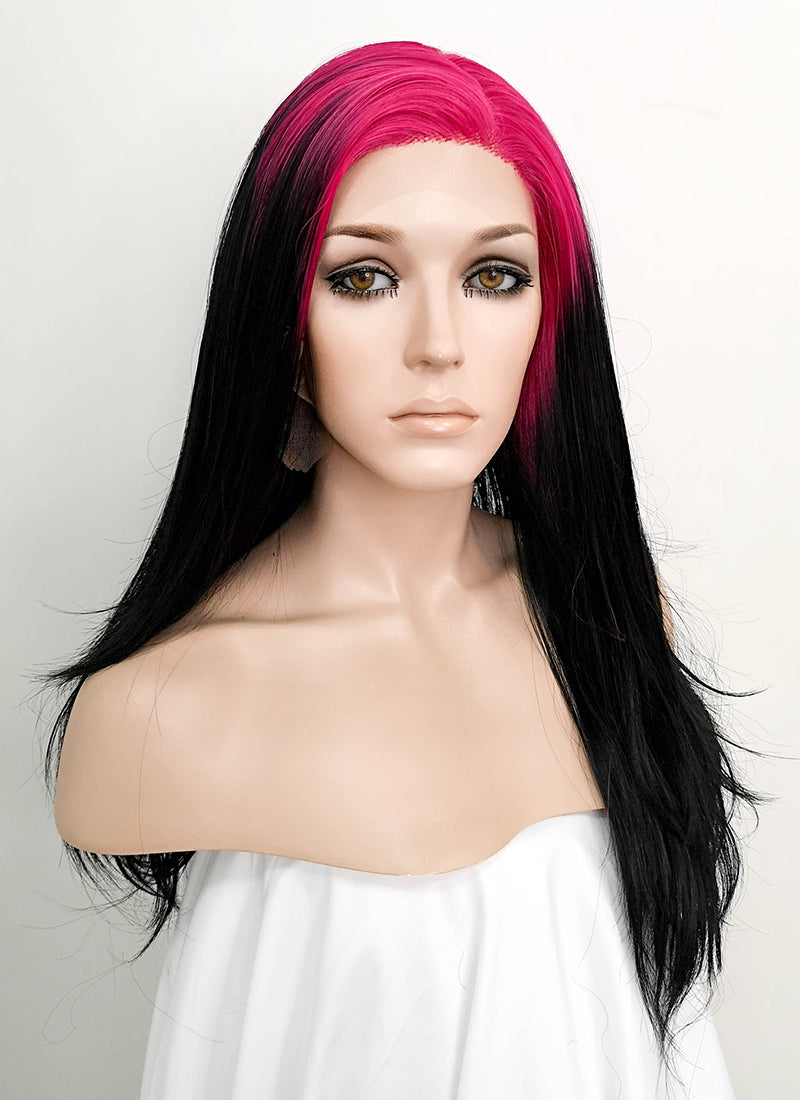 Billie Eilish Black With Neon Pink Roots Wavy Lace Front Synthetic Wig LF1751