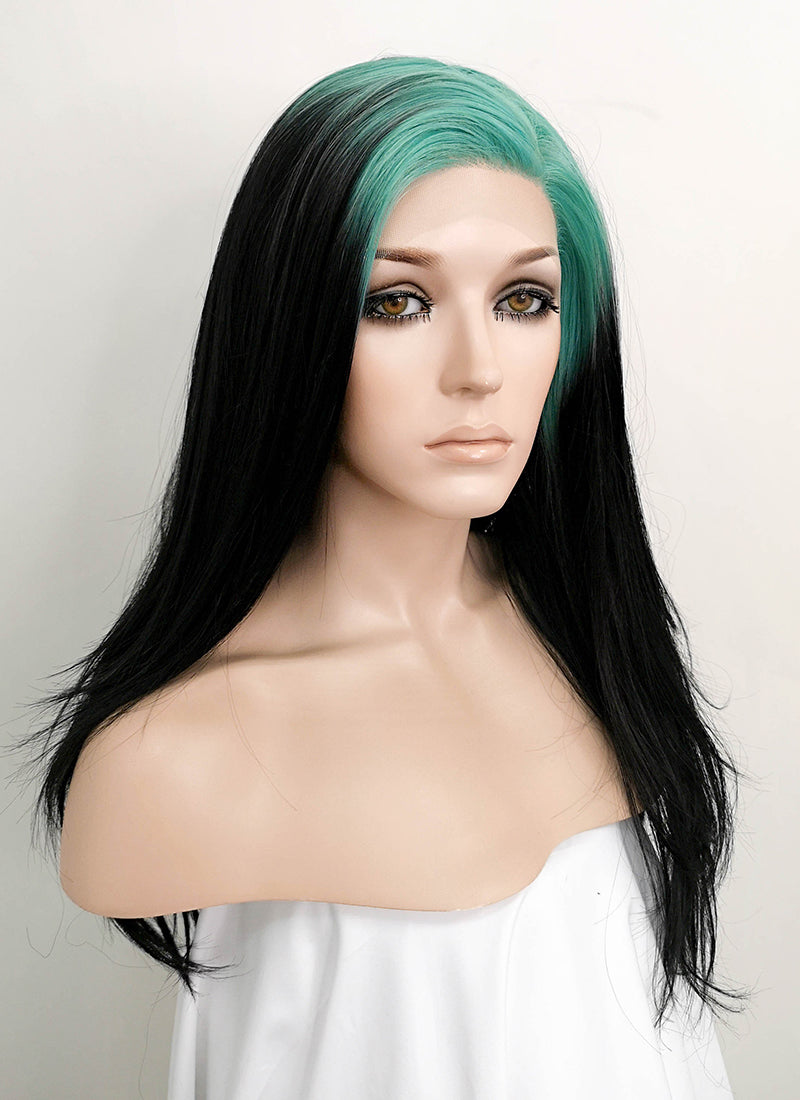 Billie Eilish Black With Neon Blue Roots Straight Lace Front Synthetic Wig LF1753
