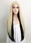 Dua Lipa Blonde Black Two-Tone Straight Lace Front Synthetic Wig LF1754