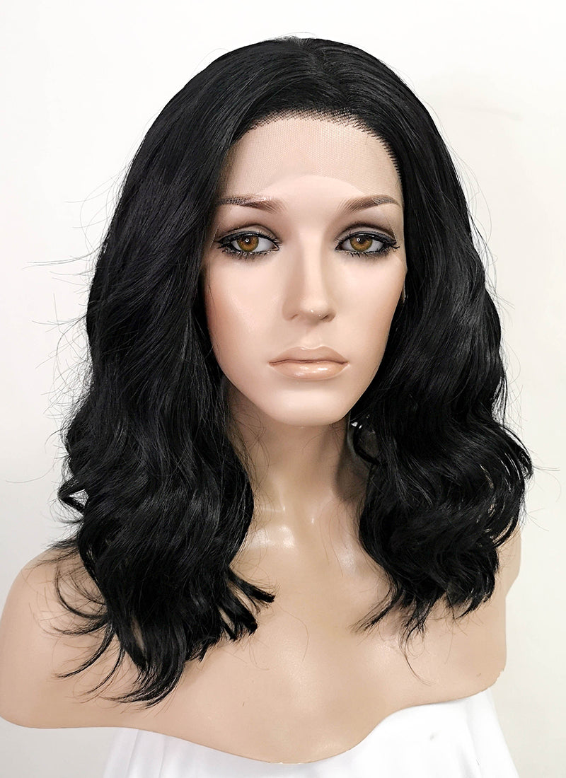 Black Wavy Bob Lace Front Synthetic Wig LF1764