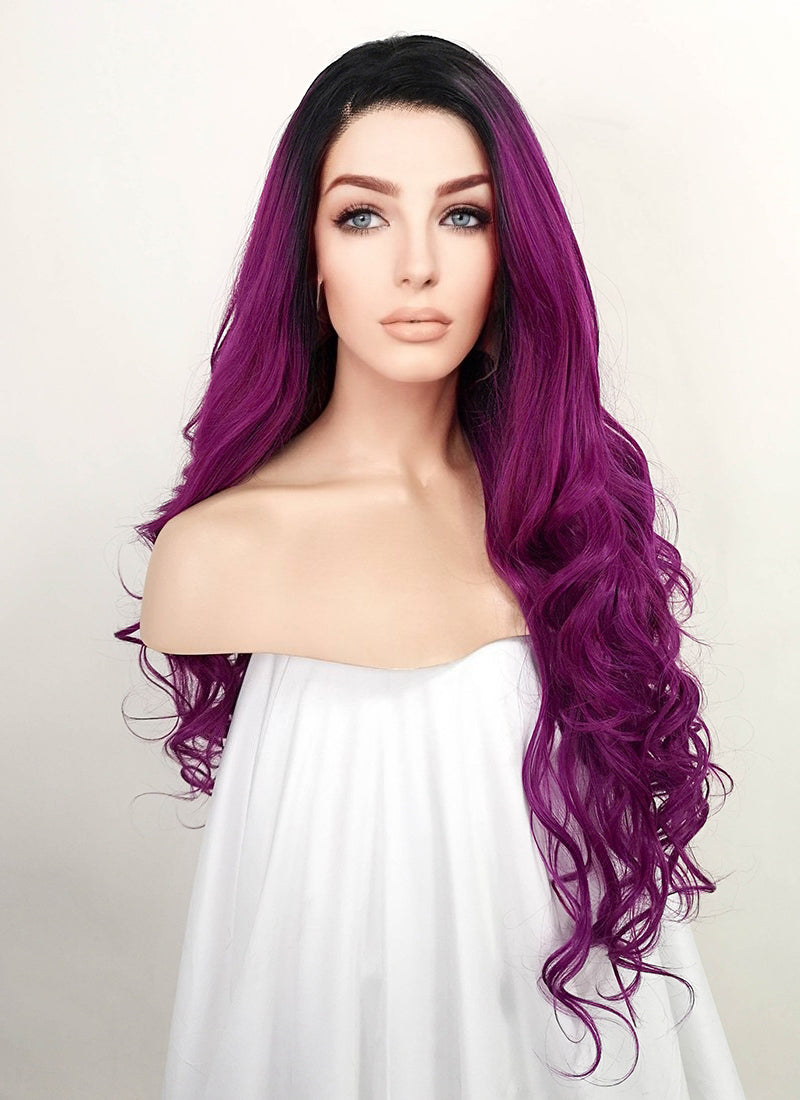 Purple With Dark Roots Wavy Lace Front Synthetic Wig LF1771
