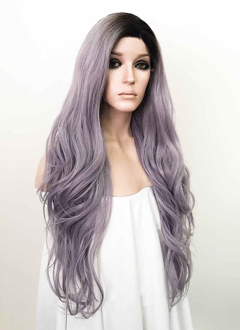 Ash Purple With Dark Roots Wavy Lace Front Synthetic Wig LF1784