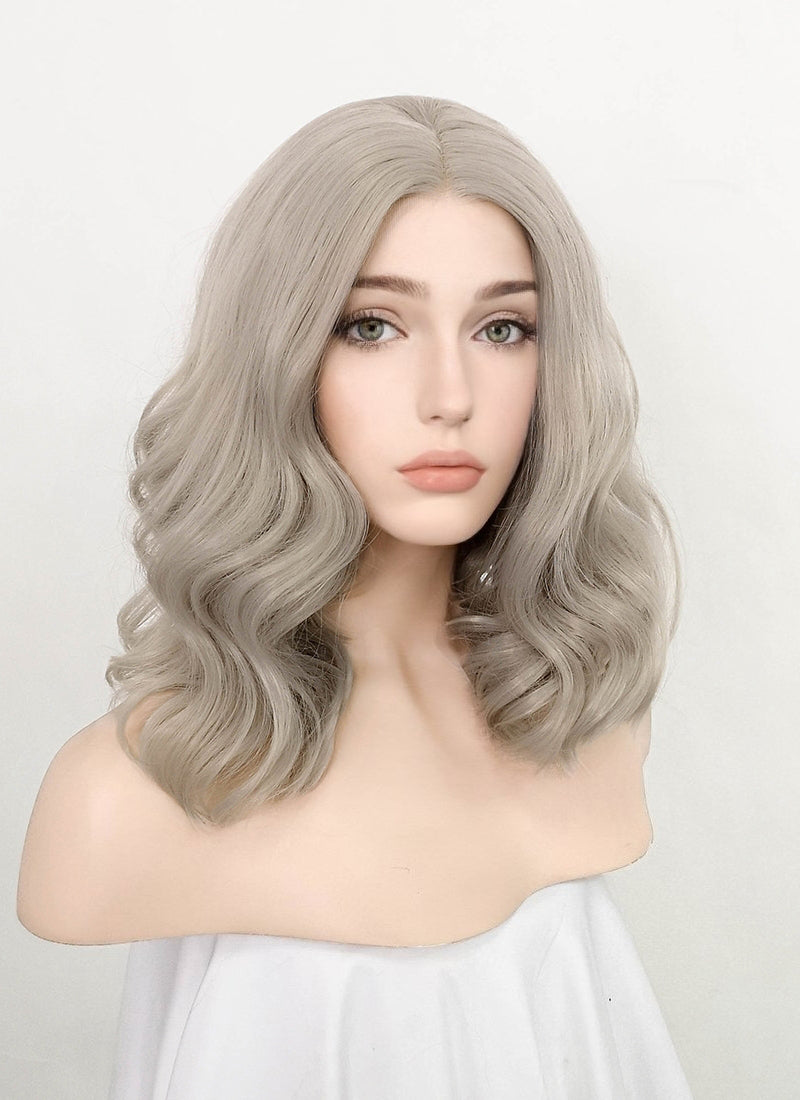 Pastel Grey Wavy Bob Lace Front Synthetic Wig LF1791