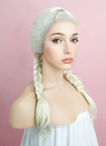 "24"" Long Grey French Braid Lace Front Synthetic Hair Wig LF2022"