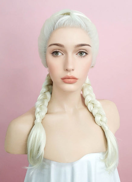 "24"" Long Light Blonde Braided Lace Front Synthetic Hair Wig LF2002"