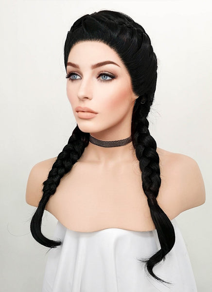 "24"" Long Black French Braid Lace Front Synthetic Hair Wig LF2006"