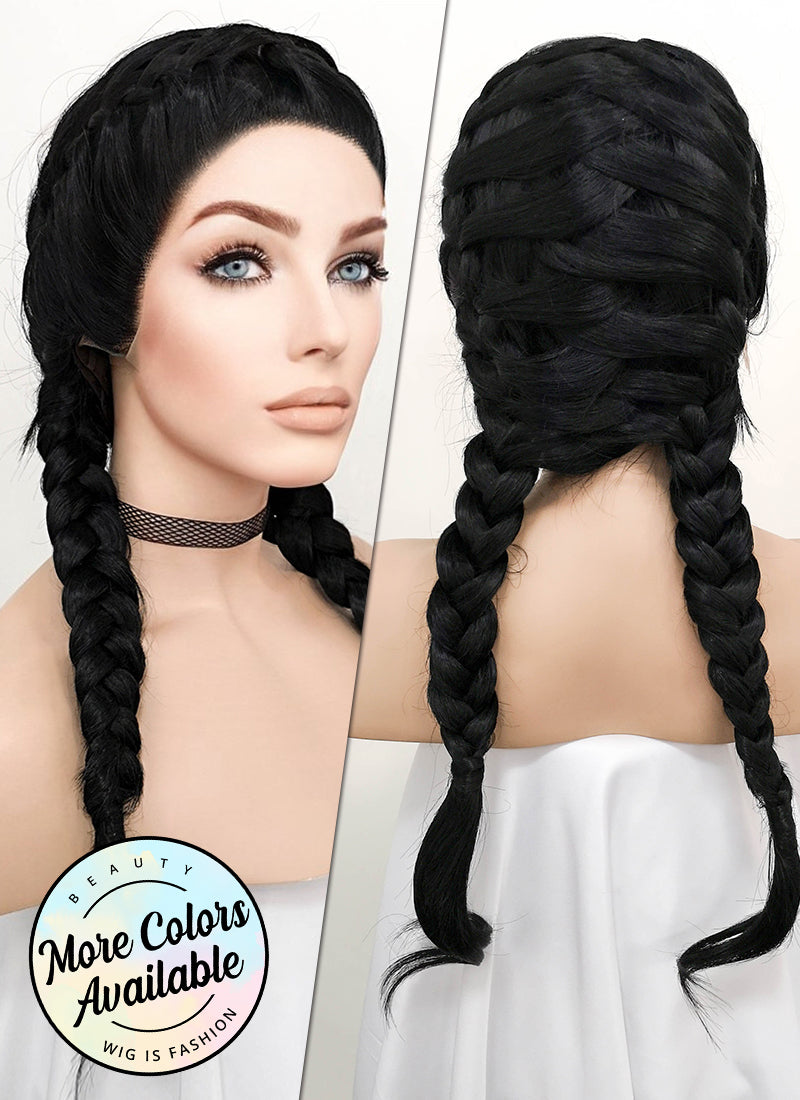Black French Braid Lace Front Synthetic Wig LF2006