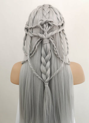 Silver Grey Braided Lace Front Synthetic Wig LF2009