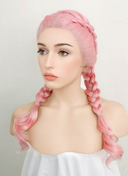 "24"" Long Pink Dutch Braid Lace Front Synthetic Hair Wig LF2010"
