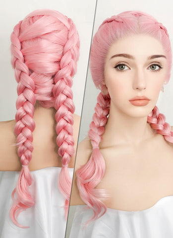 "28"" Long Curly Black Mixed Pink Lace Front Synthetic Hair Wig LF833"