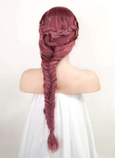 "26"" Long 2 Tone Pinkish Red Fishtail Braid Lace Front Synthetic Hair Wig LF2011"