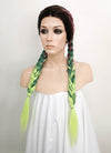 Purple Green Ombre With Dark Roots Dutch Braid Lace Front Synthetic Wig LF2013