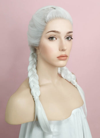 "24"" Long Curly Light Ash Blonde Daenerys Targaryen Braided Lace Front Synthetic Hair Wig LF2017"