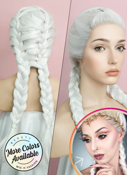"24"" White French Braid Lace Front Synthetic Wig LF2014"