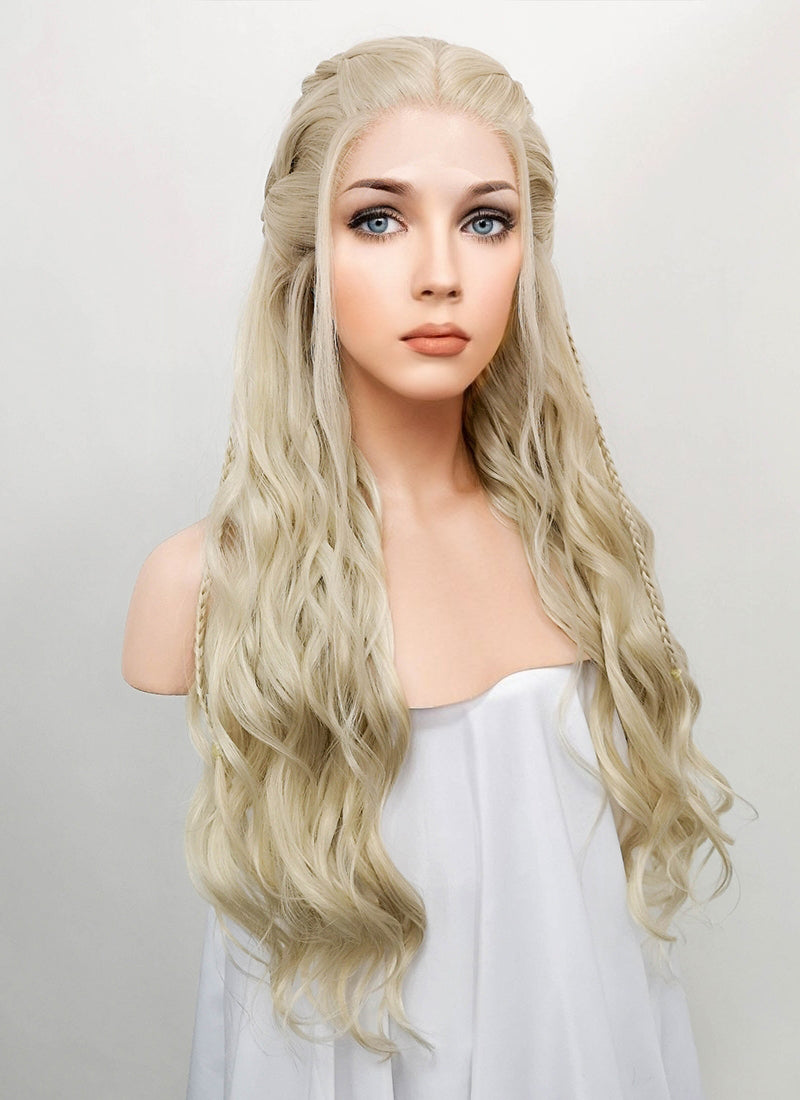 Light Ash Blonde Braided Lace Front Synthetic Wig LF2017