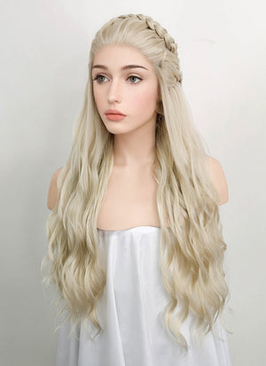 Wavy Light Ash Blonde Braided Lace Front Synthetic Wig LF2021