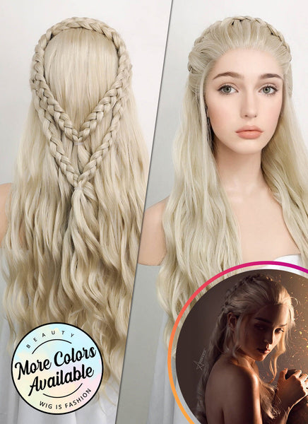 "24"" Long Curly Light Ash Blonde Daenerys Targaryen Braided Lace Front Synthetic Hair Wig LF2021"