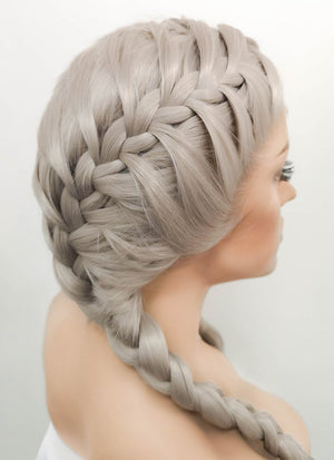 Grey French Braid Lace Front Synthetic Wig LF2022