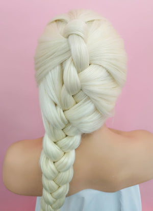 Light Blonde Elsa Braid Lace Front Synthetic Wig LF2024