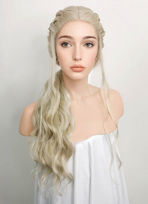 Light Ash Blonde Braided Lace Front Synthetic Wig LF2037