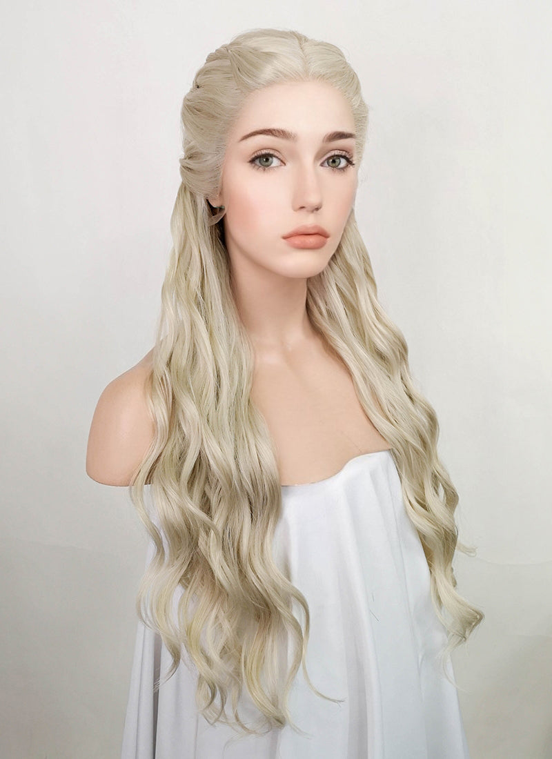 Light Ash Blonde Braided Lace Front Synthetic Wig LF2039