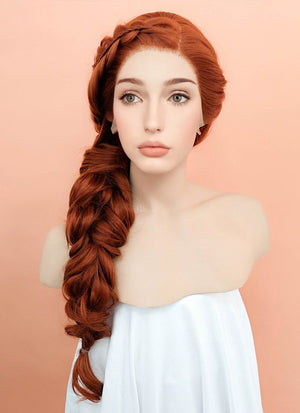 Auburn Wavy Lace Front Synthetic Wig LF2044