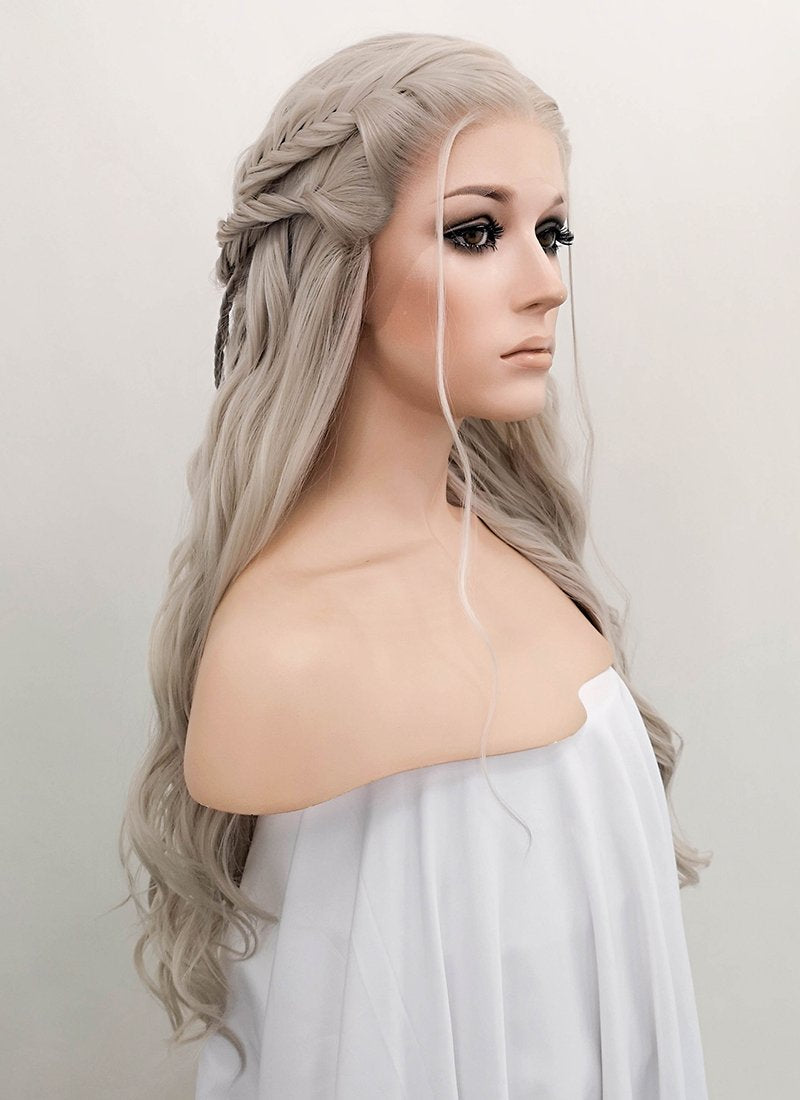 Pastel Mixed Grey Wavy Lace Front Synthetic Wig LF2045