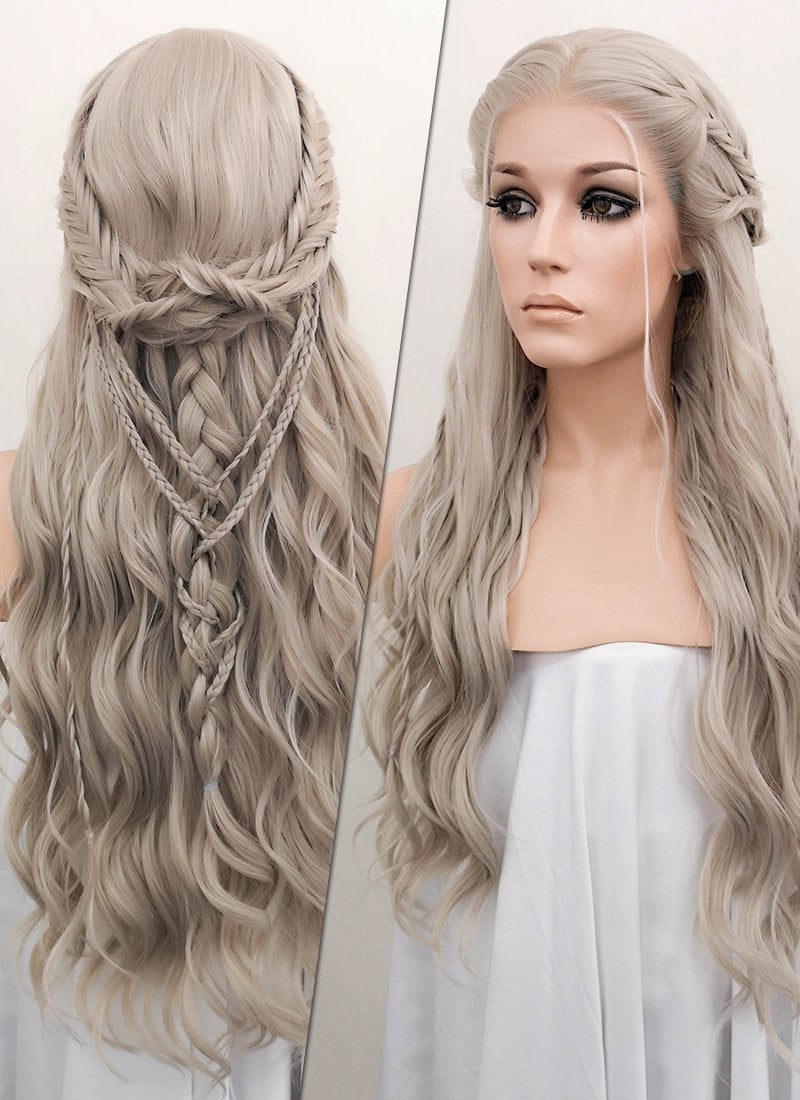 Pastel Mixed Grey Braided Lace Front Synthetic Wig LF2045