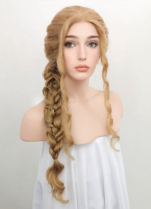 Golden Blonde Wavy Lace Front Synthetic Wig LF2046