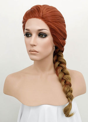 Auburn Blonde Ombre Wavy Lace Front Synthetic Wig LF2047
