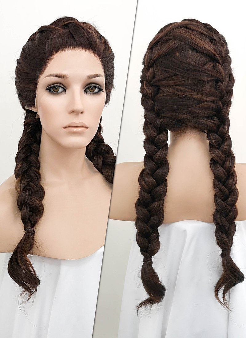 Brunette Braided Lace Front Synthetic Wig LF2048