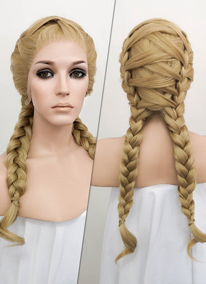 Golden Blonde Braided Lace Front Synthetic Wig LF2049