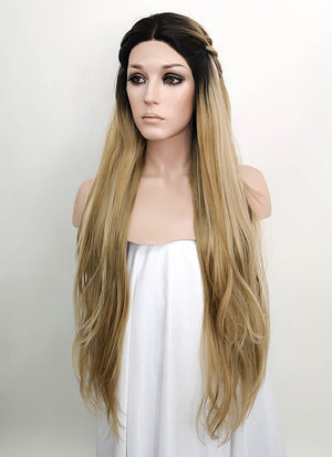 Mixed Blonde With Dark Roots Wavy Lace Front Synthetic Wig LF2050