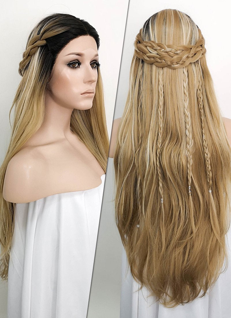 Mixed Blonde With Dark Roots Braided Lace Front Synthetic Wig LF2050