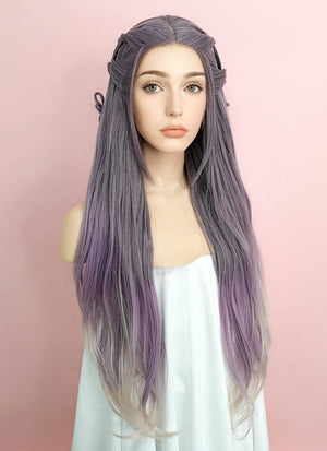 Purple Grey Ombre Wavy Lace Front Synthetic Wig LF2052