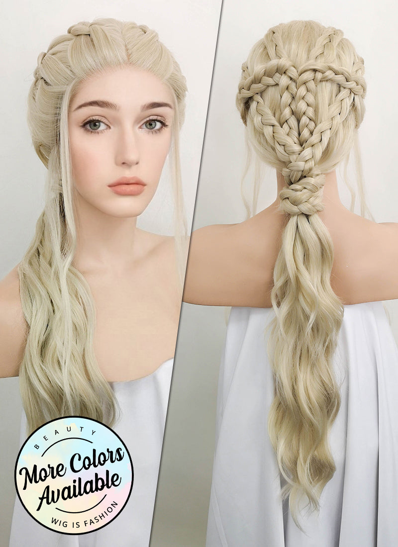 Light Ash Blonde Braided Lace Front Synthetic Wig LF2053